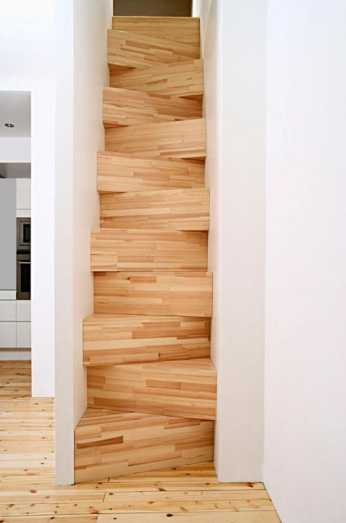 Steep stairs in skinny spaces look cool but should be feared