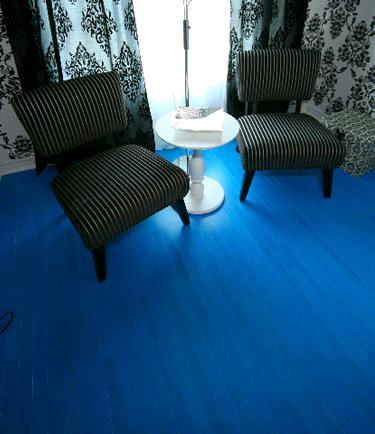 blue hardwood floor