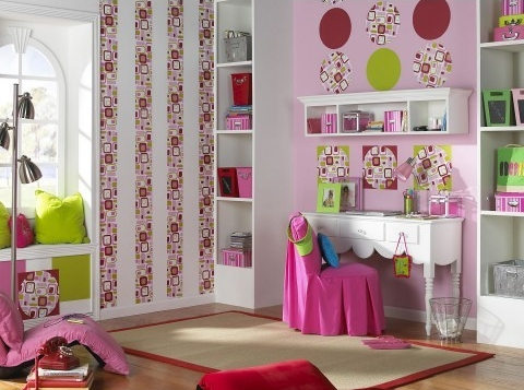 Pink black and green interiors