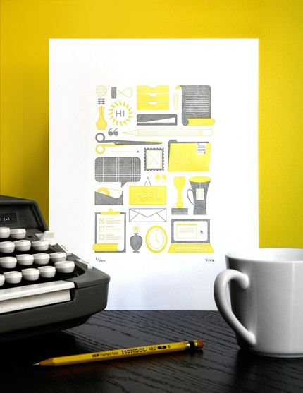 yellow and gray print