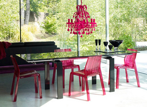 In This Contemporary Dining Room, Fuschia Pink Lucite Accent Chairs ...
