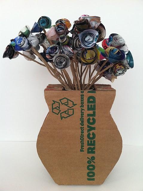 Поделки из картона ваза с цветами