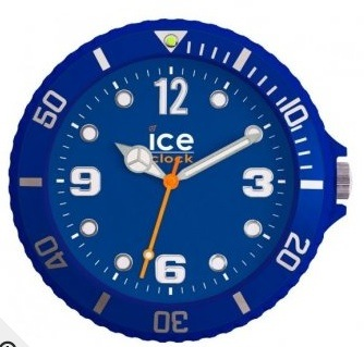 Ice Wall Clock in Blue